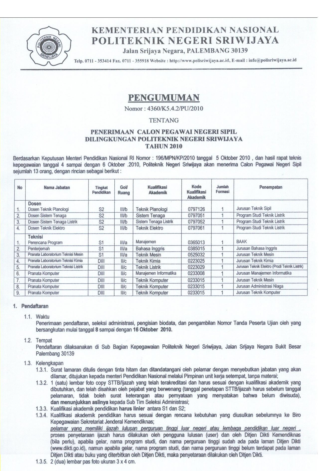 Penerimaan CPNS Politeknik Negeri Sriwijaya Tahun 2010